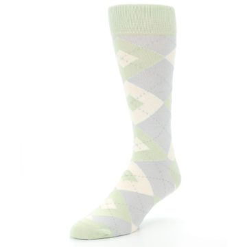 Image of Sage Meadow Gray Argyle Men's Dress Socks (side-2-front-08)