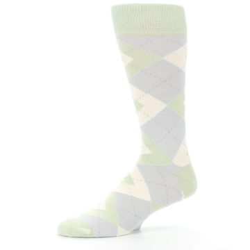 Image of Sage Meadow Gray Argyle Men's Dress Socks (side-2-10)