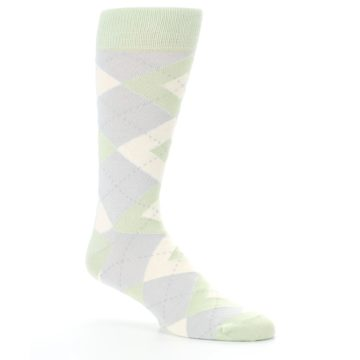 Image of Sage Meadow Gray Argyle Men's Dress Socks (side-1-26)