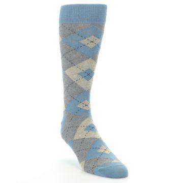 Image of Slate Gray Argyle Men's Dress Socks (side-1-front-02)
