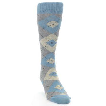 Image of Slate Gray Argyle Men's Dress Socks (side-1-front-03)
