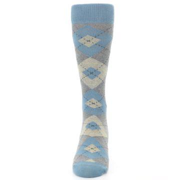 Image of Slate Gray Argyle Men's Dress Socks (front-05)