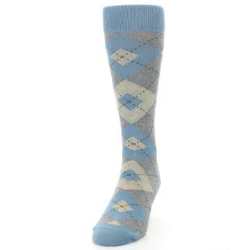 Image of Slate Gray Argyle Men's Dress Socks (side-2-front-06)