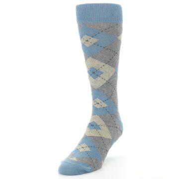 Image of Slate Gray Argyle Men's Dress Socks (side-2-front-07)