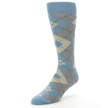 Image of Slate Gray Argyle Men's Dress Socks (side-2-front-08)