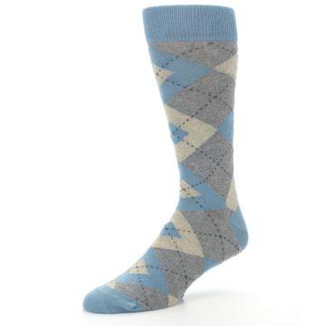 Image of Slate Gray Argyle Men's Dress Socks (side-2-09)