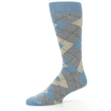 Image of Slate Gray Argyle Men's Dress Socks (side-2-10)