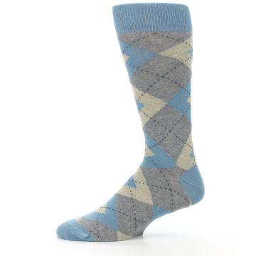 Image of Slate Gray Argyle Men's Dress Socks (side-2-11)
