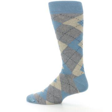 Image of Slate Gray Argyle Men's Dress Socks (side-2-13)