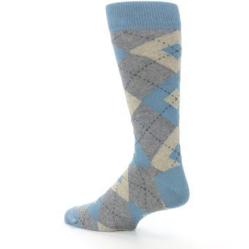 Image of Slate Gray Argyle Men's Dress Socks (side-2-back-14)