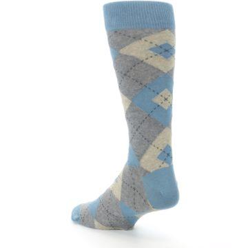 Image of Slate Gray Argyle Men's Dress Socks (side-2-back-15)