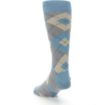Image of Slate Gray Argyle Men's Dress Socks (side-2-back-16)