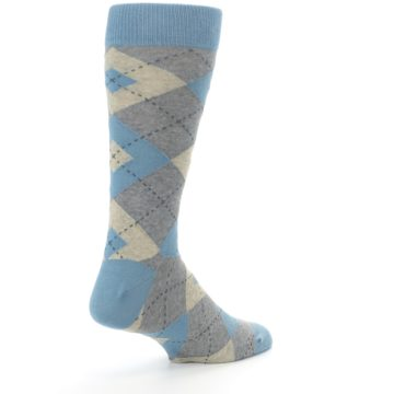 Image of Slate Gray Argyle Men's Dress Socks (side-1-back-22)