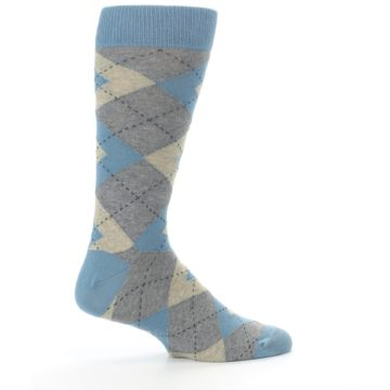 Image of Slate Gray Argyle Men's Dress Socks (side-1-24)