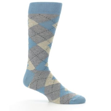 Image of Slate Gray Argyle Men's Dress Socks (side-1-25)