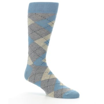Image of Slate Gray Argyle Men's Dress Socks (side-1-26)