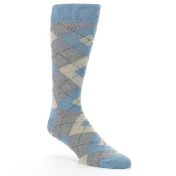 Image of Slate Gray Argyle Men's Dress Socks (side-1-27)