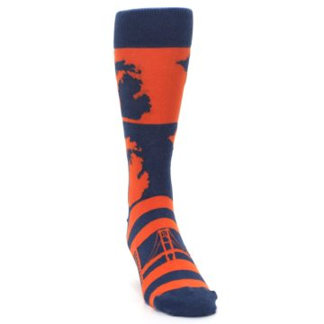 Image of Navy Orange Michigan Men's Dress Socks (side-1-front-03)
