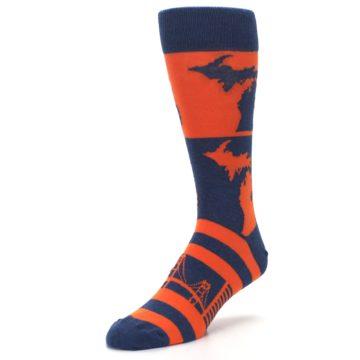 Image of Navy Orange Michigan Men's Dress Socks (side-2-front-08)