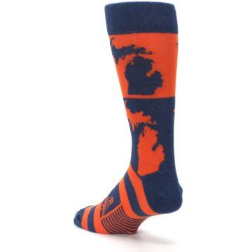 Image of Navy Orange Michigan Men's Dress Socks (side-2-back-15)