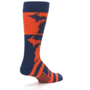 Image of Navy Orange Michigan Men's Dress Socks (side-1-back-22)