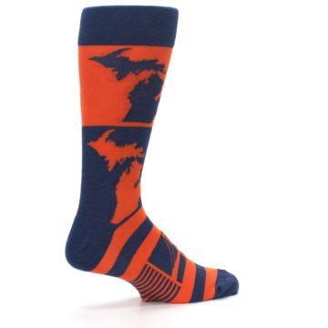 Image of Navy Orange Michigan Men's Dress Socks (side-1-23)