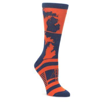 Navy-Orange-Michigan-Womens-Dress-Socks-Statement-Sockwear