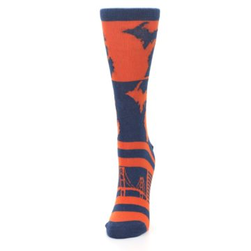 Image of Navy Orange Michigan Women's Dress Socks (side-2-front-07)