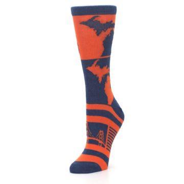 Image of Navy Orange Michigan Women's Dress Socks (side-2-09)