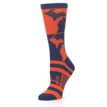 Image of Navy Orange Michigan Women's Dress Socks (side-2-10)