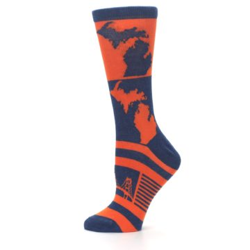 Image of Navy Orange Michigan Women's Dress Socks (side-2-12)