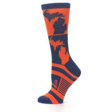 Image of Navy Orange Michigan Women's Dress Socks (side-2-13)