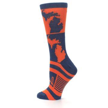 Image of Navy Orange Michigan Women's Dress Socks (side-2-back-14)