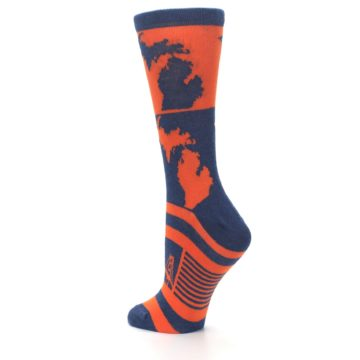 Image of Navy Orange Michigan Women's Dress Socks (side-2-back-15)