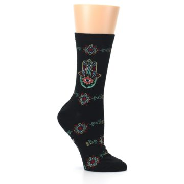Image of Black Multi Hamsa Hand Women's Dress Socks (side-1-26)