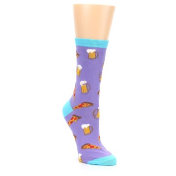 Image of Purple Pizza and Beer Women's Dress Socks (side-1-front-02)