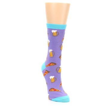 Image of Purple Pizza and Beer Women's Dress Socks (side-1-front-03)