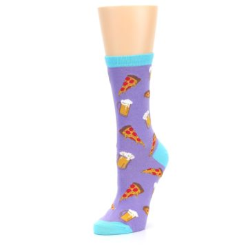 Image of Purple Pizza and Beer Women's Dress Socks (side-2-09)