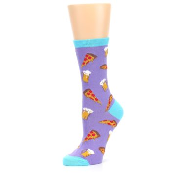 Image of Purple Pizza and Beer Women's Dress Socks (side-2-10)