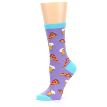Image of Purple Pizza and Beer Women's Dress Socks (side-2-11)