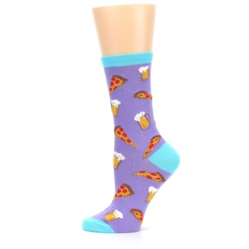 Image of Purple Pizza and Beer Women's Dress Socks (side-2-12)