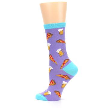 Image of Purple Pizza and Beer Women's Dress Socks (side-2-13)
