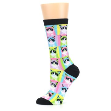 Image of Multi Color Grumpy Cat Women's Dress Socks (side-2-11)