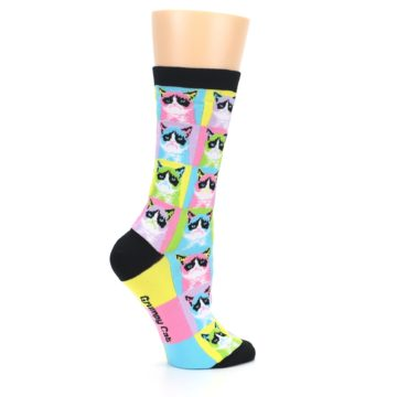 Image of Multi Color Grumpy Cat Women's Dress Socks (side-1-24)