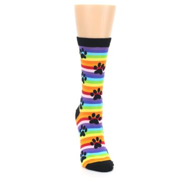 Image of Multi Color Stripe Paw Prints Women's Dress Socks (front-04)