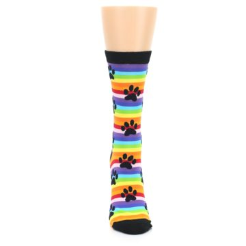 Image of Multi Color Stripe Paw Prints Women's Dress Socks (front-05)