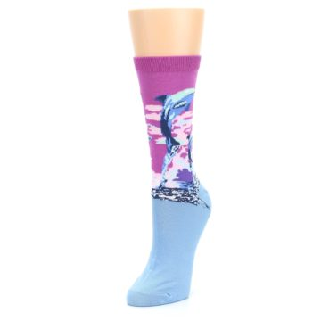 Image of Purple Blue Dolphins Women's Dress Socks (side-2-front-08)