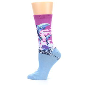 Image of Purple Blue Dolphins Women's Dress Socks (side-2-12)