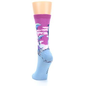Image of Purple Blue Dolphins Women's Dress Socks (back-17)
