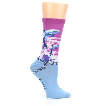 Image of Purple Blue Dolphins Women's Dress Socks (side-1-25)